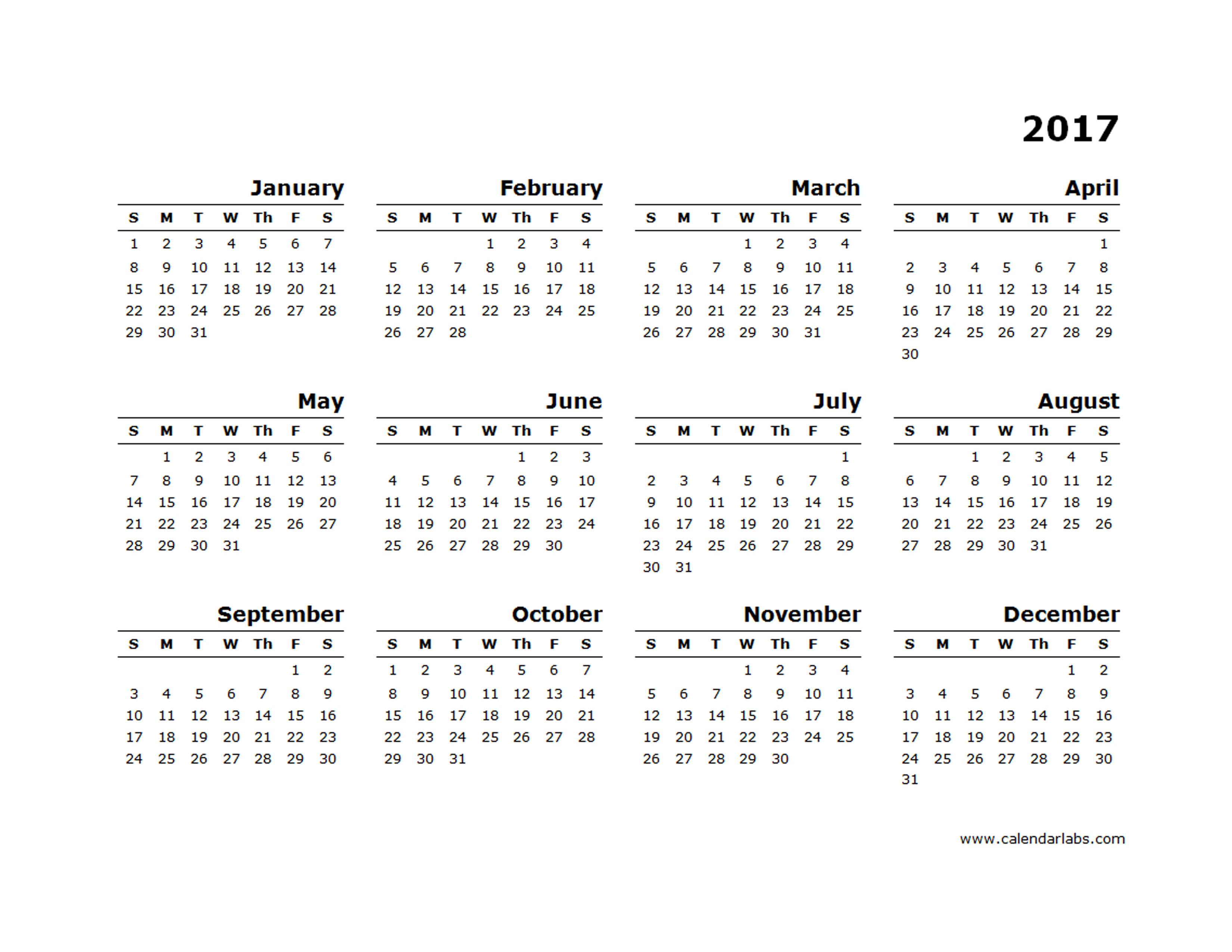 2017 Yearly Calendar Blank Minimal Design - Free Printable ...