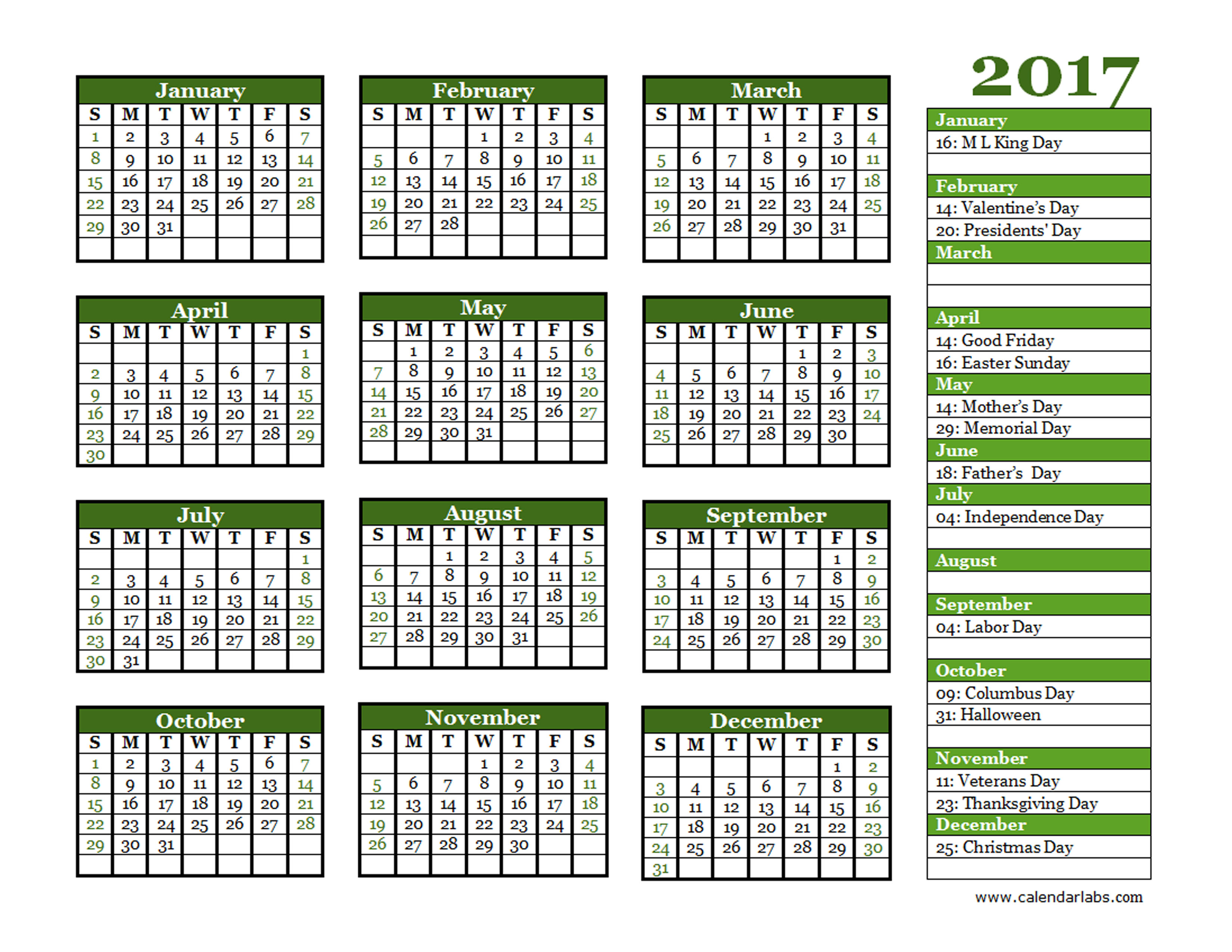 Calendar Labs Templates : Yearly calendar landscape free printable templates