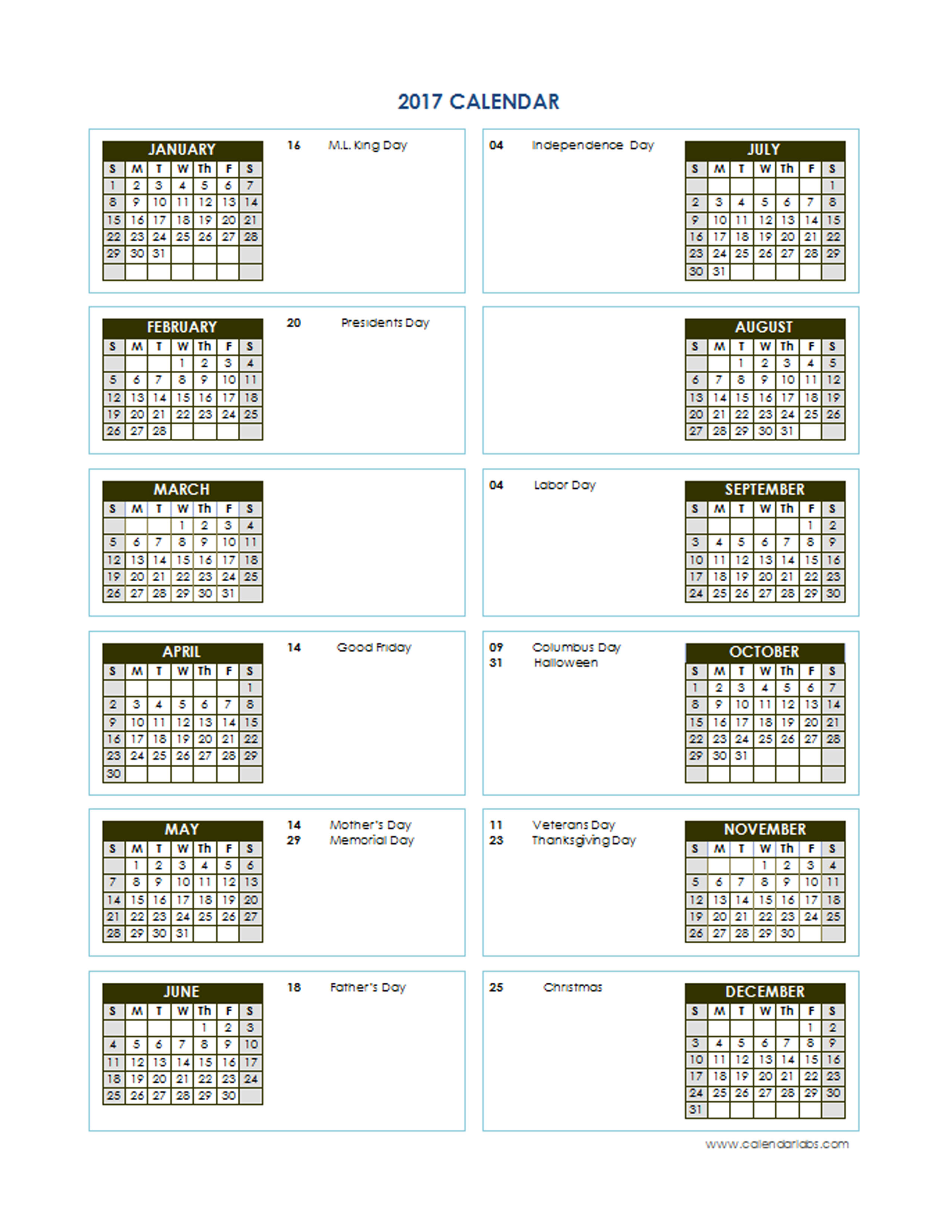 2017 calendar template with all holidays yearly calendar 2017