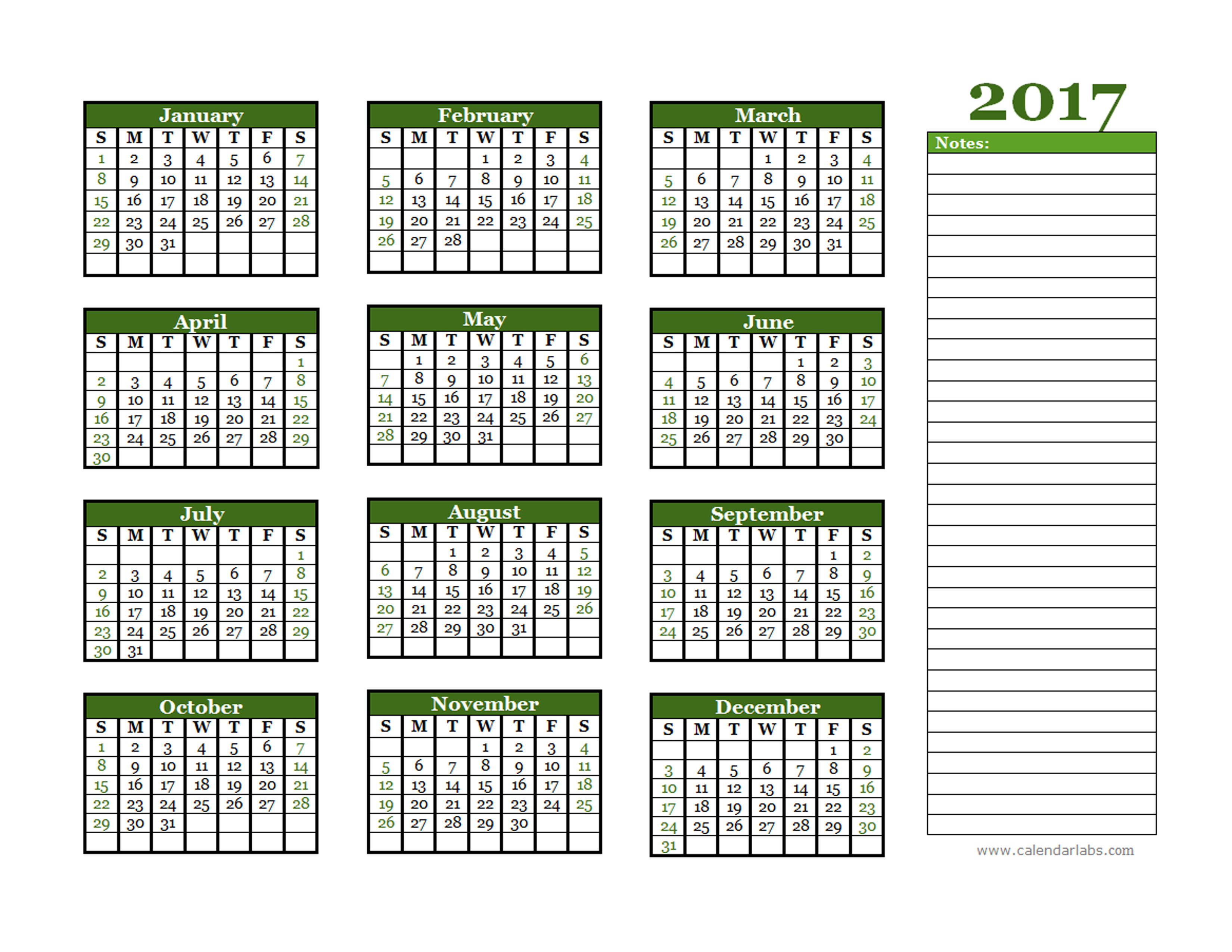 2017 Yearly Calendar With Blank Notes - Free Printable Templates