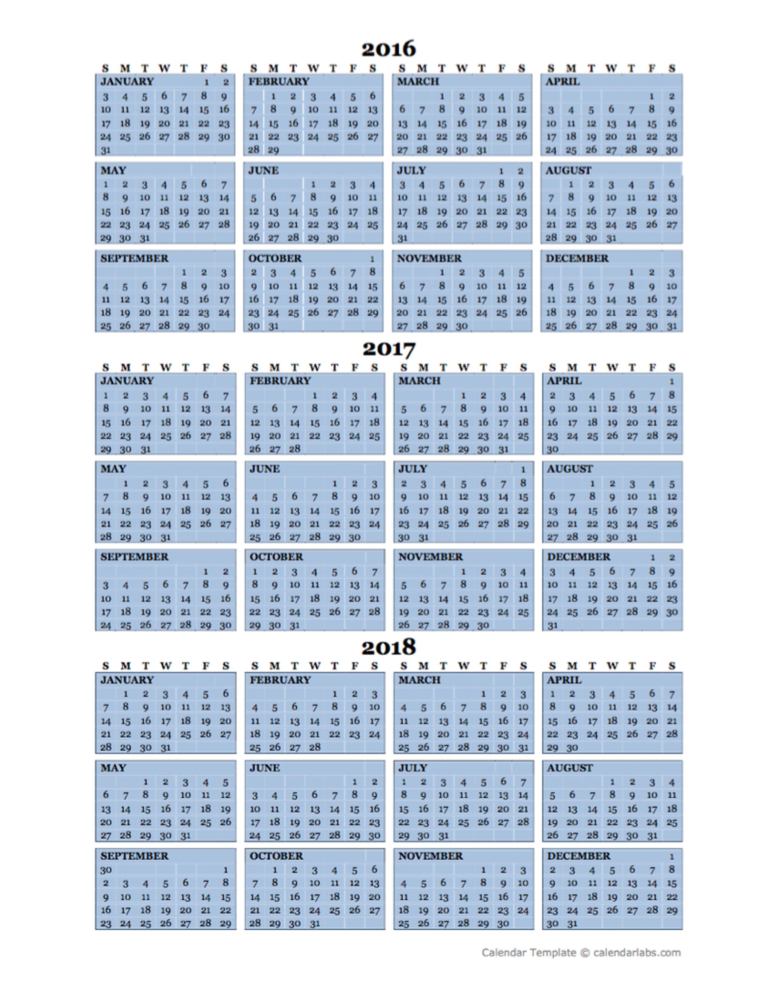 Three Year Calendar Template 2016 to 2018 - Free Printable Templates