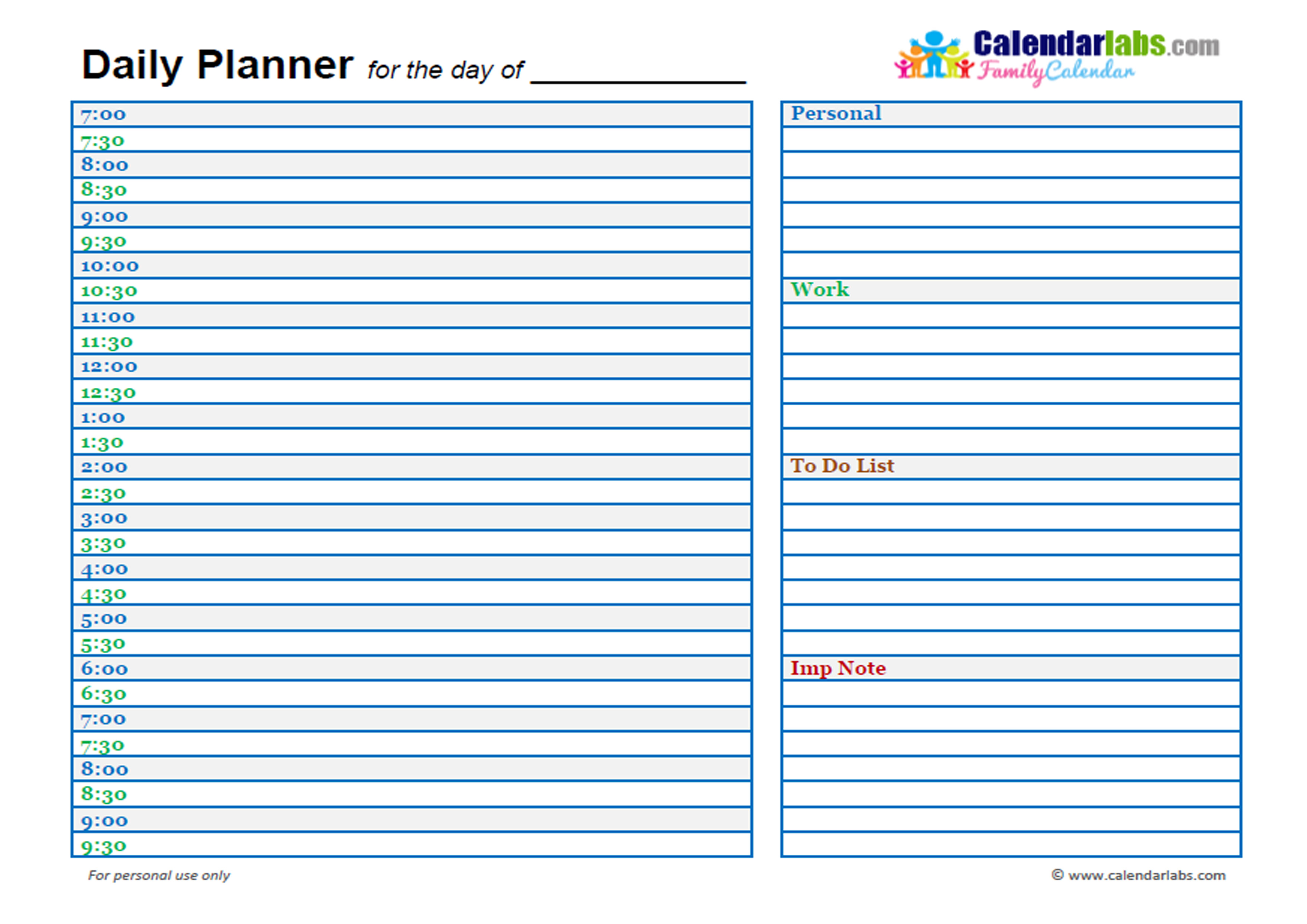 2017 family day planner