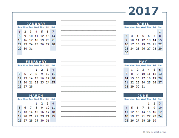 Blank Two Page Calendar Template 2017