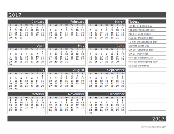 2017 12 Month Calendar Template One Page Free Printable