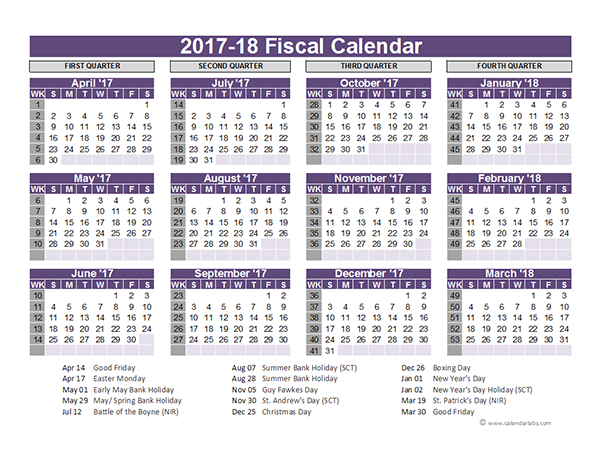 Fiscal Year Calendar Quarters : Uk fiscal calendar template  free printable templates