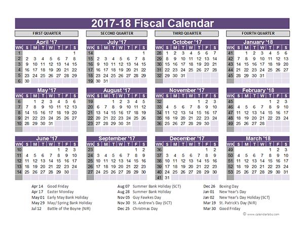 UK Fiscal Calendar Template 2017-18