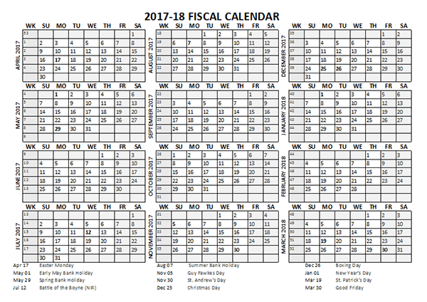 2017 Fiscal Calendar Template Starts at April - Free Printable ...