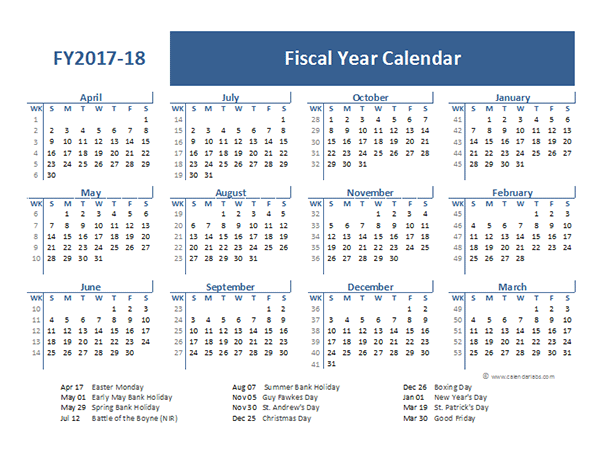 2017 Fiscal Year Calendar Template UK