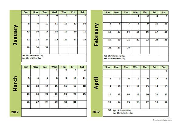 2017 Four Month Calendar Template - Free Printable Templates