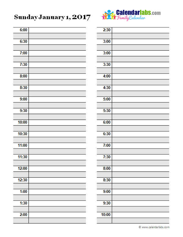 2017 Daily Planner Template - Free Printable Templates