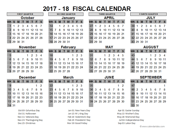 Year Calendar Quarters : Us fiscal year template free printable templates