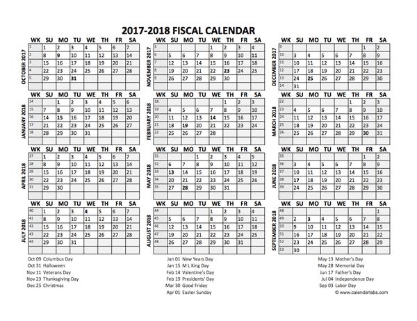 Fiscal Calendar 2017-18 templates - Free Printable Templates