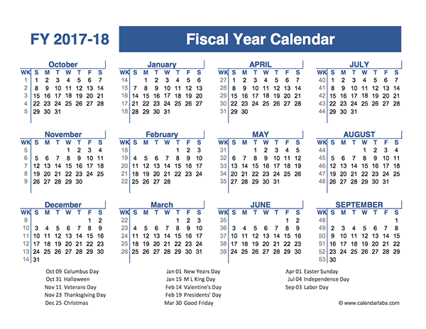2017-2018 Fiscal Planner US - Free Printable Templates