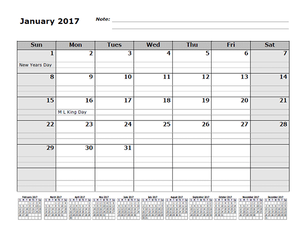 2017 monthly calendar template with 12 months references