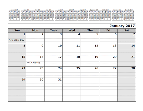 2017 monthly calendar template with 12 months at top