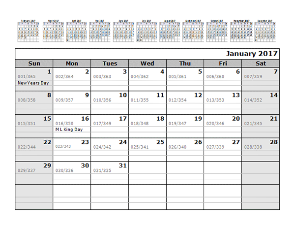 2017 Monthly Julian Calendar 12 Months Top Free