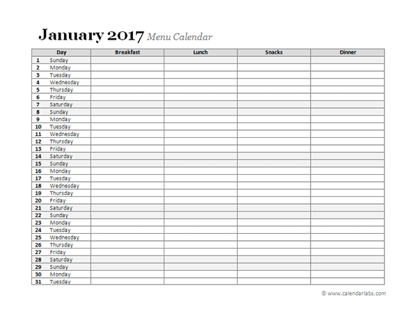 2017 monthly menu planner