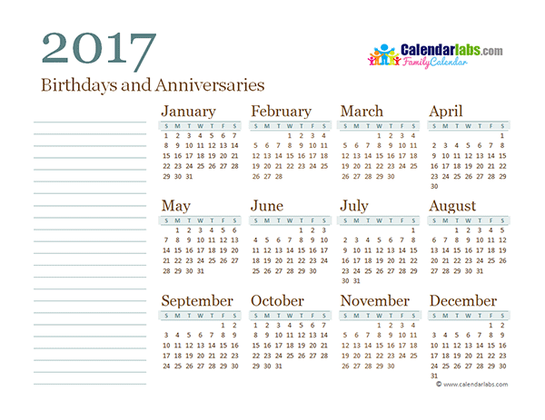 2017 yearly family calendar free printable templates 2017 yearly family calendar toneelgroepblik Choice Image