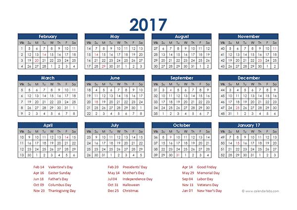 2017 Accounting Calendar 4-5-4 - Free Printable Templates