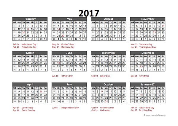 2017 Accounting Calendar 5 4 4 Free Printable Templates
