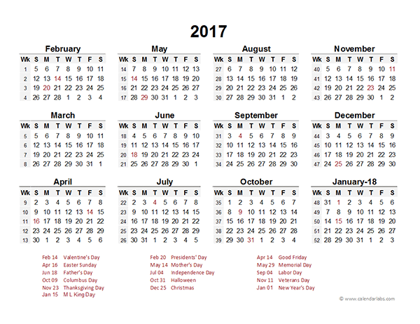 2017 Accounting Period Calendar 4 4 5 Free Printable