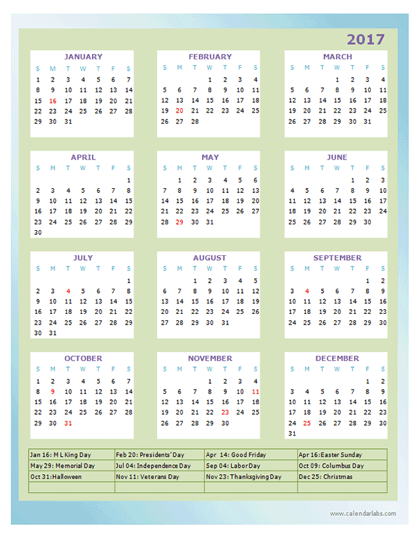 2017 Annual Calendar Design Template Free Printable Templates