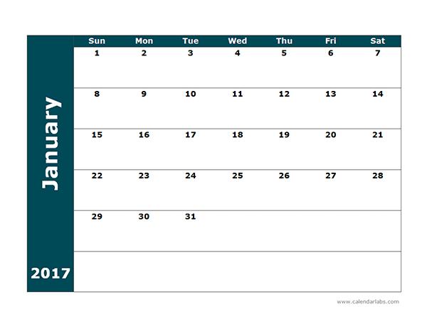 2017 Blank Calendar Template Free Printable Templates