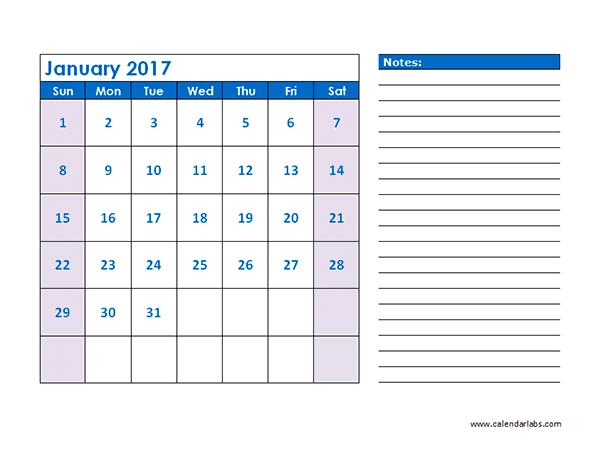 2017 Blank Printable Calendar