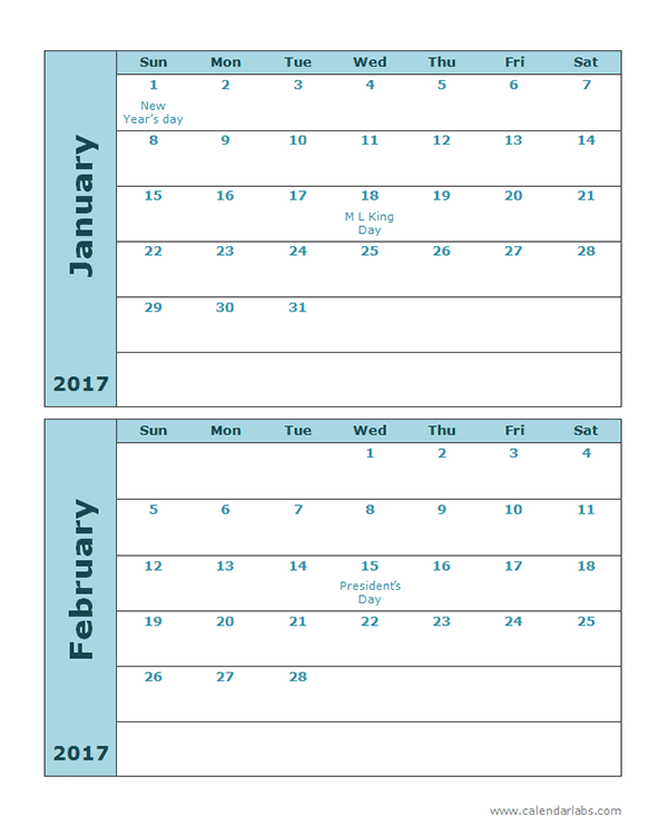 2017 Calendar Template Large Boxes - Free Printable Templates