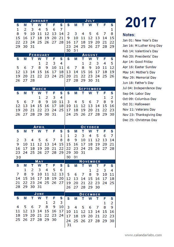2017 Calendar Template Half