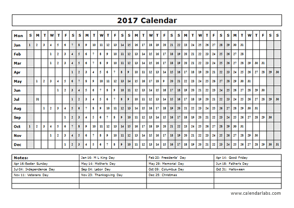 2017 calendar template year at a glance free printable for Day at a glance calendar template