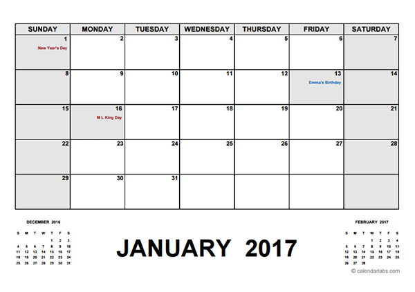 2017 Monthly Calendar PDF - Free Printable Templates
