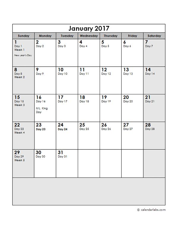 2017 Calendar with Julian Dates