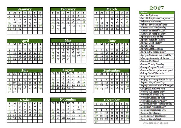 2017 christian festivals calendar template