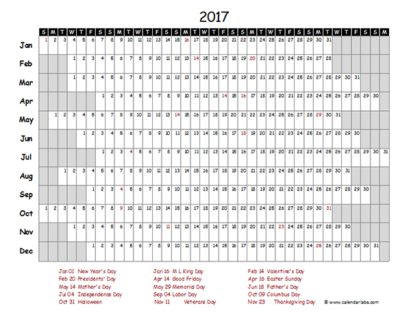 Year Calendar 2017 Excel : Excel calendar project timeline free printable