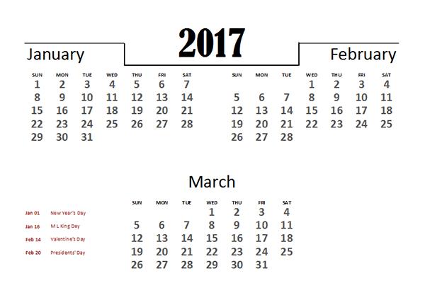 2017 Excel Quarterly Calendar Template - Free Printable Templates