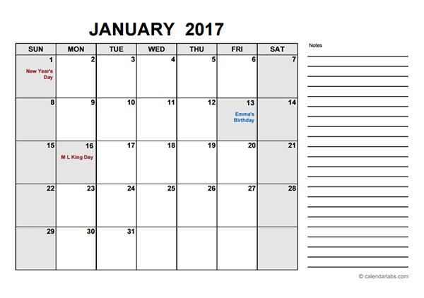 2017 Free Calendar PDF - Free Printable Templates