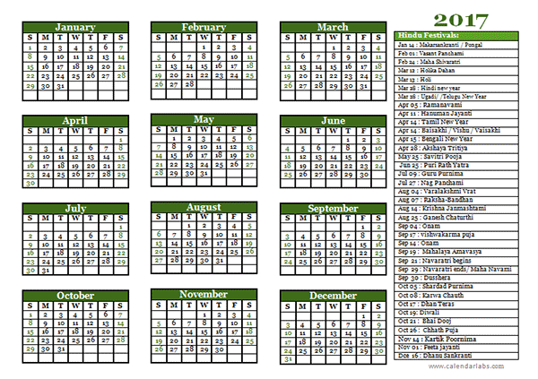 2017 hindu festivals calendar template