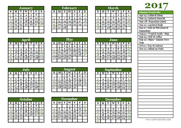 2017 Islamic Festivals Calendar Template