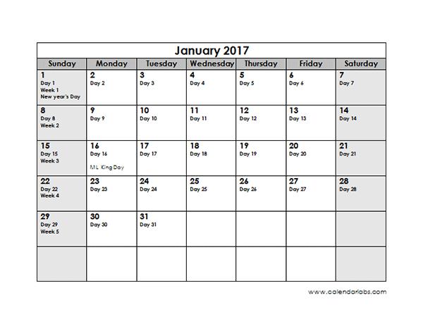 2017 Julian Calendar - Free Printable Templates