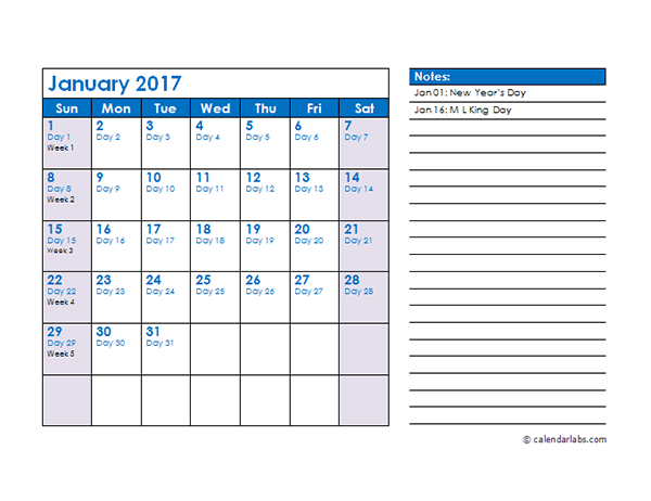 Download calendar template file as Word / PDF document: