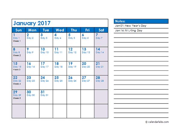 2017 Julian Date Calendar