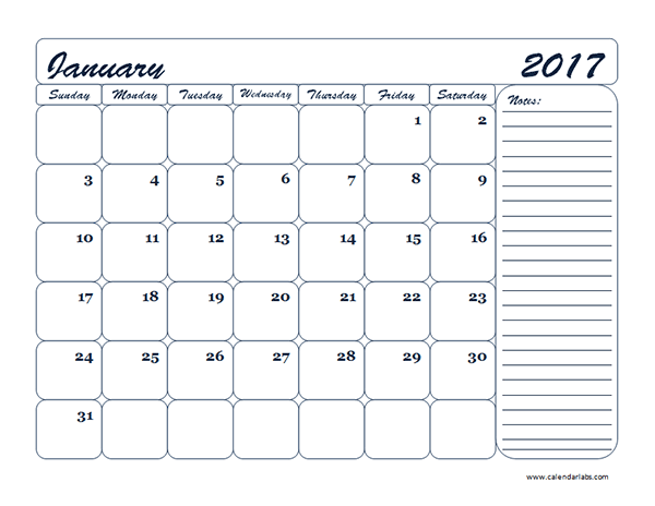 2017 Monthly Blank Calendar Template - Free Printable Templates