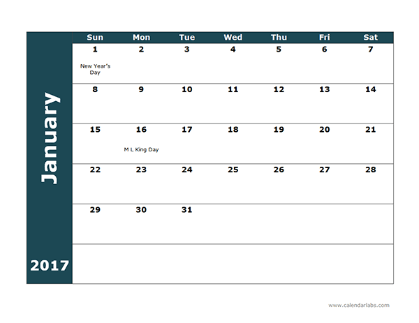 2017 Monthly Calendar - Free Printable Templates