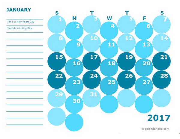 2017 monthly calendar colorful for kindergarten