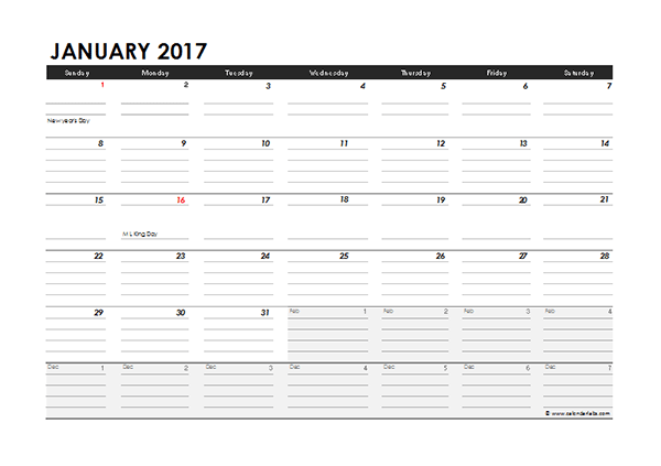 2017 Monthly Calendar Excel Template Free Printable Templates
