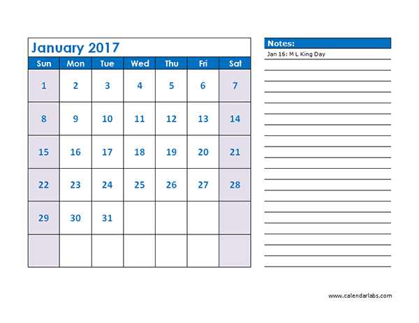 2017 Monthly Calendar Appointment - Free Printable Templates