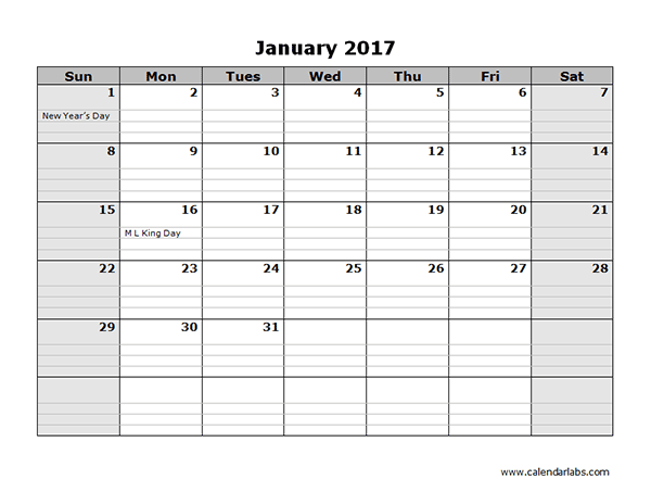 2017 Monthly Calendar Template 08 - Free Printable Templates