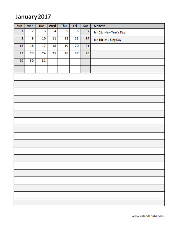 2017 Monthly Calendar Template 10 Free Printable Templates