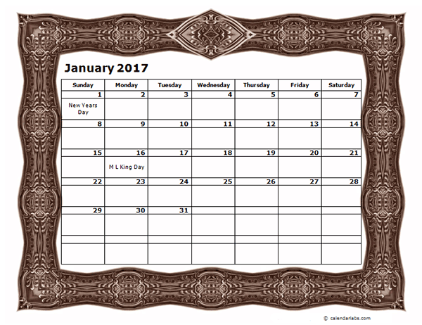 2017 Monthly Calendar Template with Frame Design